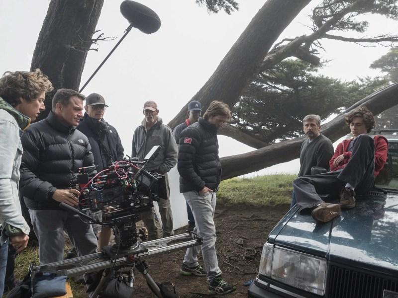 Ruben Impens, Felix van Groeningen, Steve Carell, and TimothŽe Chalamet behind the scenes on the set of BEAUTIFUL BOY.