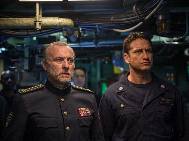 Captain Andropov (Michael Nyqvist, left) and Captain Joe Glass (Gerard Butler, right) in HUNTER KILLER.