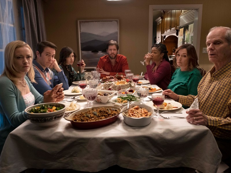 Meredith Hagner, Jon Barinholtz, Carrie Brownstein, Ike Barinholtz, Tiffany Haddish, Nora Dunn, and Chris Ellis in THE OATH.