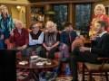 Pictured L-R: Faith Ford as Corky Sherwood, Joe Regalbuto as Frank Fontana, Grant Shaud as Miles Silverberg, Tyne Daly as Phyllis, Nik Dodani as Pat Patel, Candice Bergen as Murphy Brown, and Jake McDorman as Avery Brown.