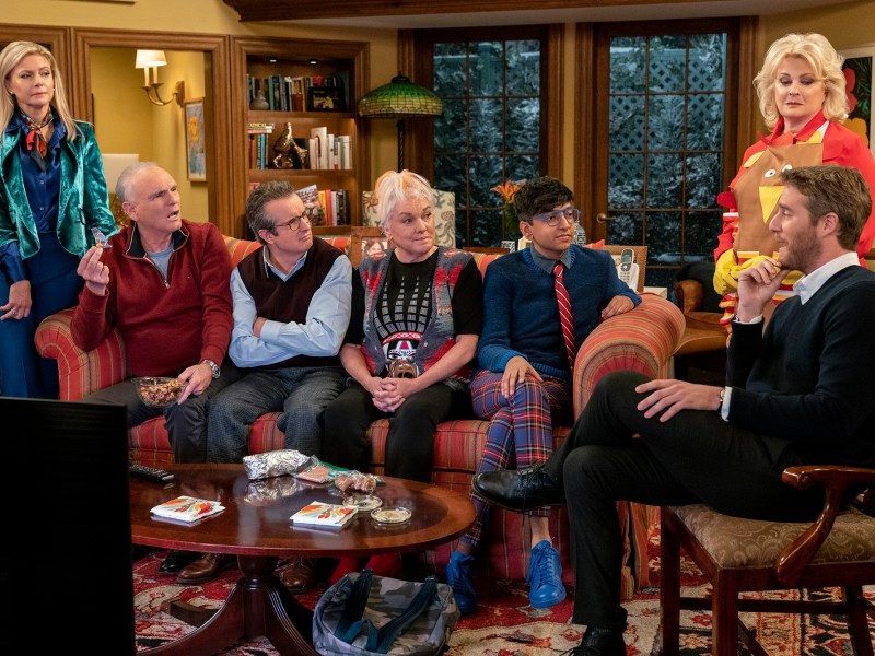 Pictured L-R: Faith Ford as Corky Sherwood, Joe Regalbuto as Frank Fontana, Grant Shaud as Miles Silverberg, Tyne Daly as Phyllis, Nik Dodani as Pat Patel, Candice Bergen as Murphy Brown, and Jake McDorman as Avery Brown.