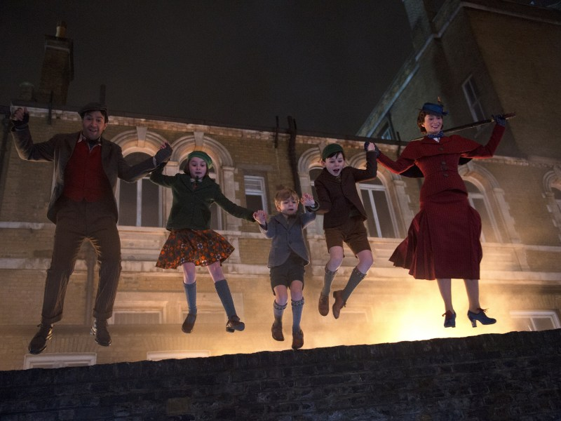 Jack (Lin-Manuel Miranda), Annabel (Pixie Davies), Georgie (Joel Dawson), John (Nathanael Saleh) and Mary Poppins (Emily Blunt) in Disney's original musical Mary Poppins Returns, a sequel to the 1964 Mary Poppins which takes audiences on an entirely new adventure with the practically perfect nanny and the Banks family.