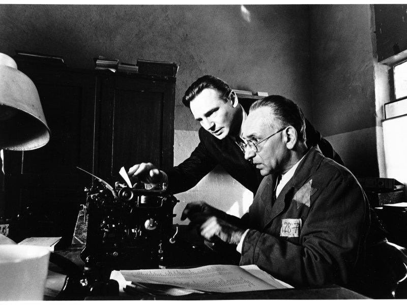 German industrialist Oskar Schindler (Liam Neeson) and Jewish accountant Itzhak Stern (Ben Kingsley) in Schindler's List.