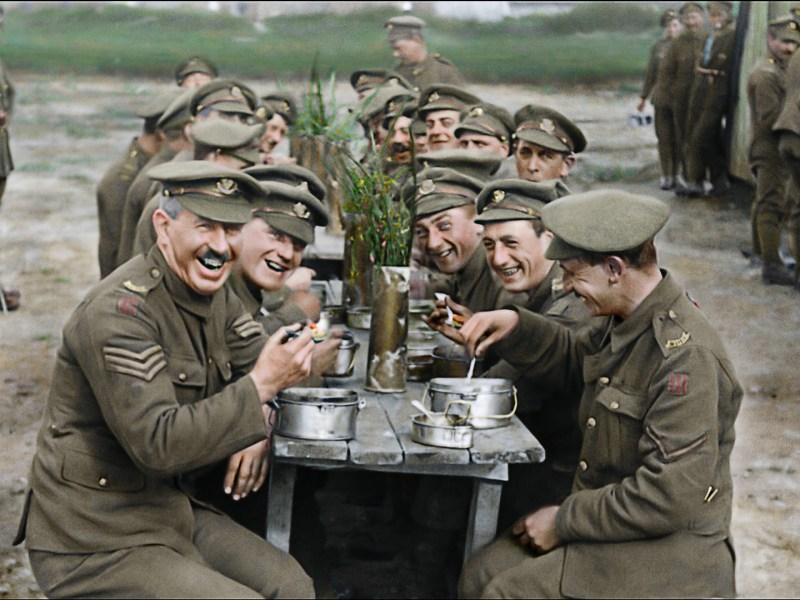 "A restored and colorized image showing a moment from Peter Jackson's acclaimed WWI documentary ""They Shall Not Grow Old,"" a Warner Bros. Pictures release."