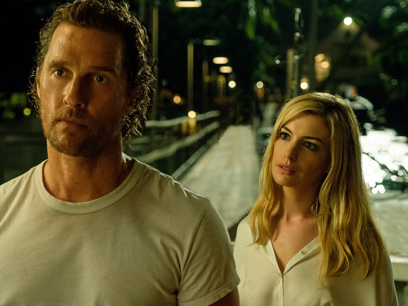 Karen (Anne Hathaway) brings turbulent tides to Baker Dill (Matthew McConaughey) as his past resurfaces in Serenity.