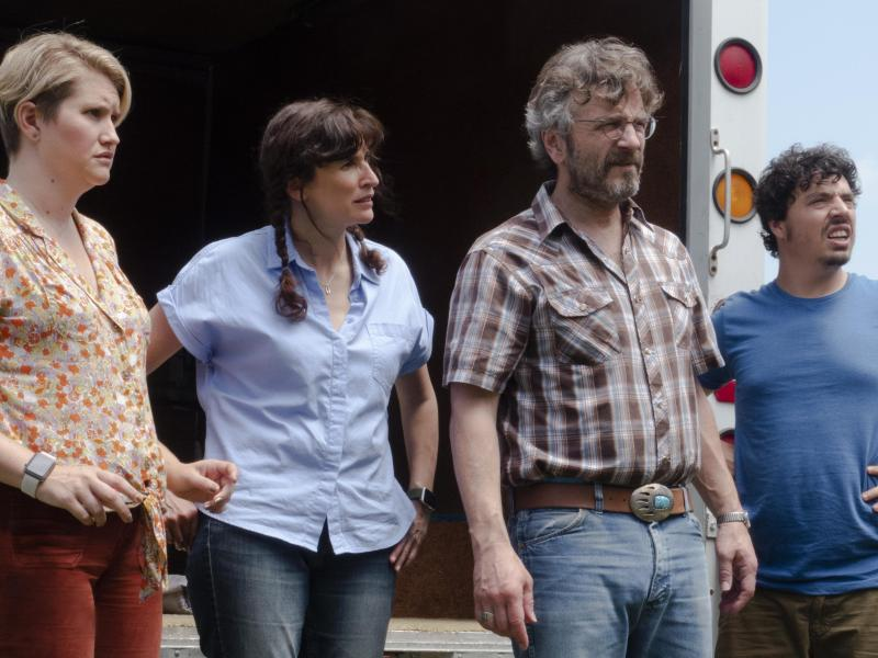 Jillian Bell, Michaela Watkins, Marc Maron, & Jon Bass in Lynn Shelton's Sword of Trust, an SXSW selection.