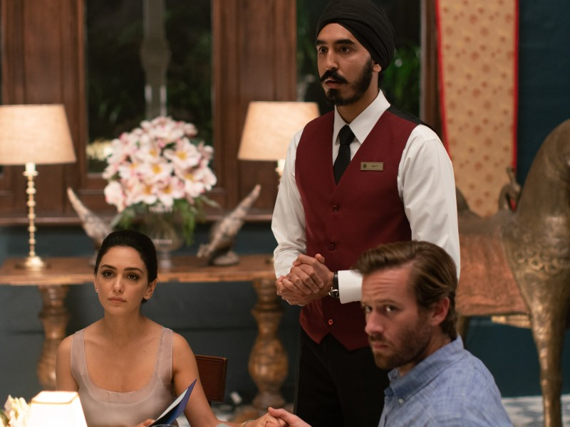 "Nazanin Boniadi as ""Zahra"", Dev Patel as ""Arjun"" and Armie Hammer as ""David' in director Anthony Maras' HOTEL MUMBAI, a Bleecker Street release."