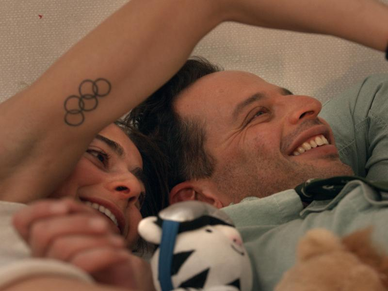 Alexi Pappas and Nick Kroll in Olympic Dreams.