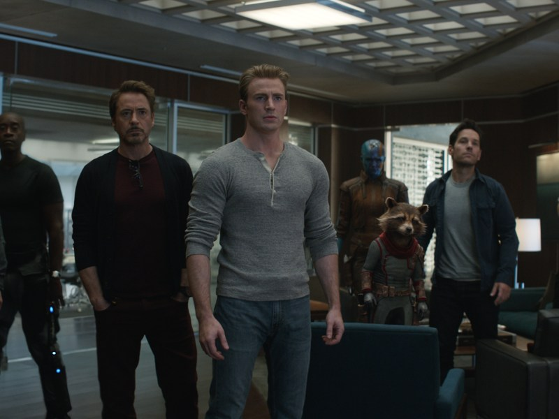 L to R: Hawkeye/Clint Barton (Jeremy Renner), War Machine/James Rhodey (Don Cheadle), Iron Man/Tony Stark (Robert Downey Jr.), Captain America/Steve Rogers (Chris Evans), Nebula (Karen Gillan), Rocket (voiced by Bradley Cooper), Ant-Man/Scott Lang (Paul Rudd) and Black Widow/Natasha Romanoff (Scarlett Johansson) in Avengers: Endgame.