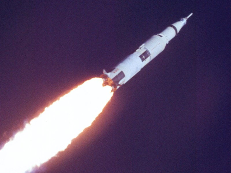 A still of the Saturn V Launch in First to the Moon.