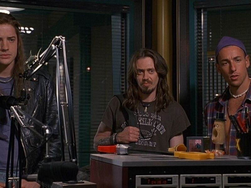 Brendan Frasier, Steve Buscemi, and Adam Sandler in Airheads.