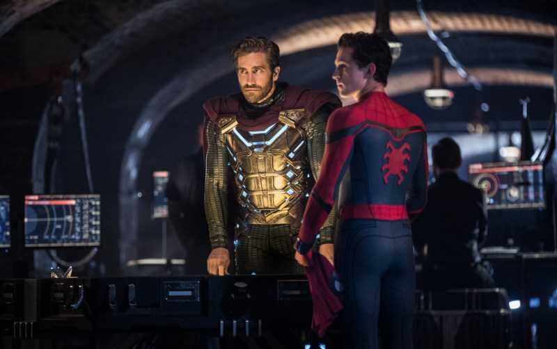 Mysterio/Quentin Beck (Jake Gyllenhaal) and Spider-Man Peter Parker (Tom Holland) star in Columbia Pictures' Spider-Man: Far From Home