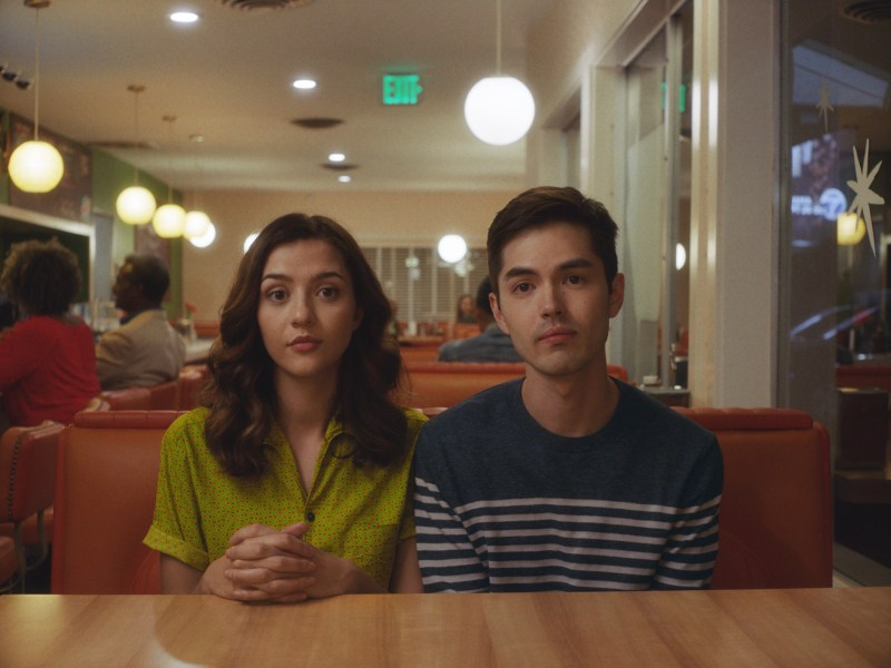Katie Findlay and James Sweeney in Straight Up.