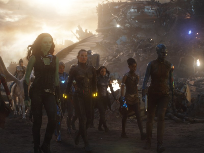 L to R: Okoye (Danai Gurira), Valkyrie (Tessa Thompson), Gamora (Zoe Saldana), Pepper Potts in Rescue Suit (Gwyneth Paltrow), Wasp (Evangeline Lilly), Mantis (Pom Klementieff), Shuri (Letitia Wright) and Nebula (Karen Gillan) in Marvel Studios' AVENGERS: ENDGAME.