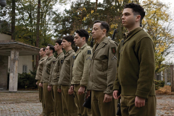 Soldiers lined up for Quentin Tarantino's INGLOURIOUS BASTERDS.