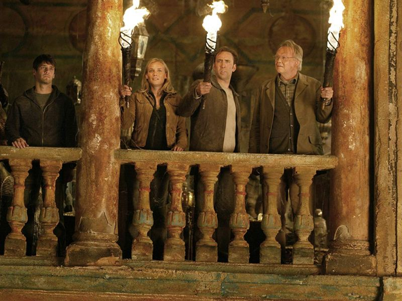 Justin Bartha, Diane Kruger, Nicolas Cage, and Jon Voight in National Treasure.