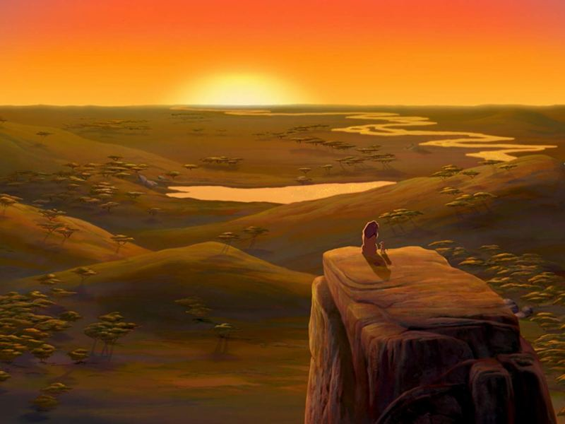 Mufasa (James Earl Jones) and Simba (Jonathan Taylor Thomas) in Disney's The Lion King.