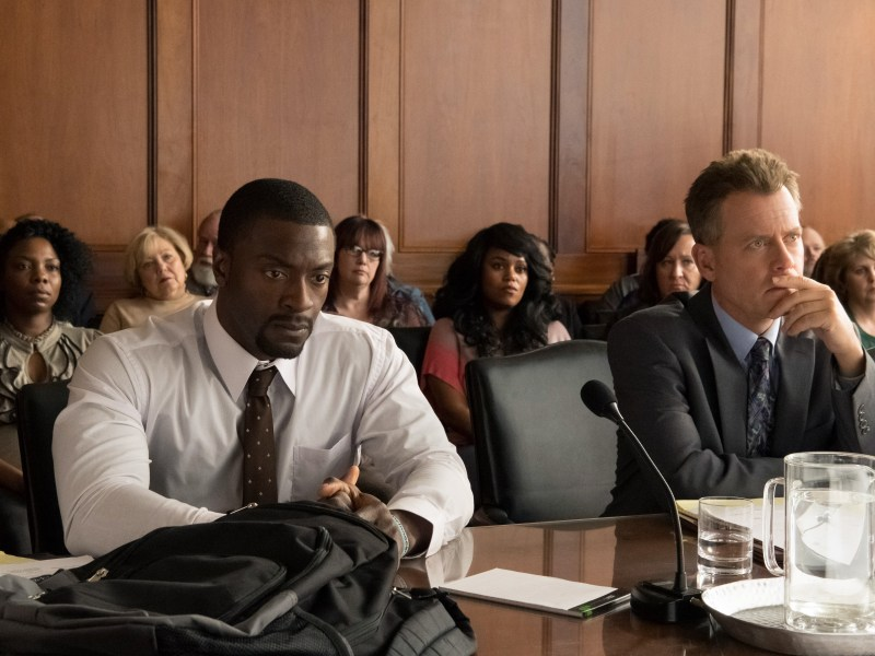 Aldis Hodge (left) as Brian Banks and Greg Kinnear (right) as Justin Brooks in Tom Shadyac's BRIAN BANKS, a Bleecker Street release.