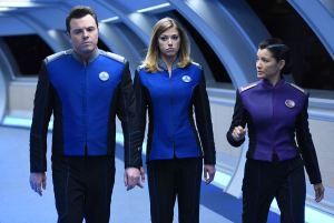 "Seth MacFarlane, Adrianne Palicki, and Kelly Hu in the ""Krill"" episode from The Orville airing Thursday, October 12 (9:00-10:00 PM ET/PT) on FOX."