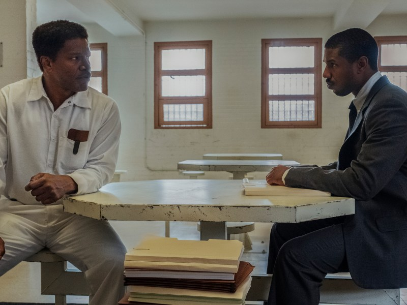 Jamie Foxx as Walter McMillian and Michael B. Jordan as Bryan Stevenson in Just Mercy