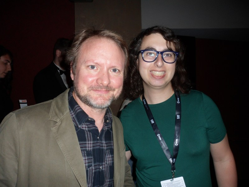 Rian Johnson and Danielle Solzman at the world premiere of Jojo Rabbit in Toronto.