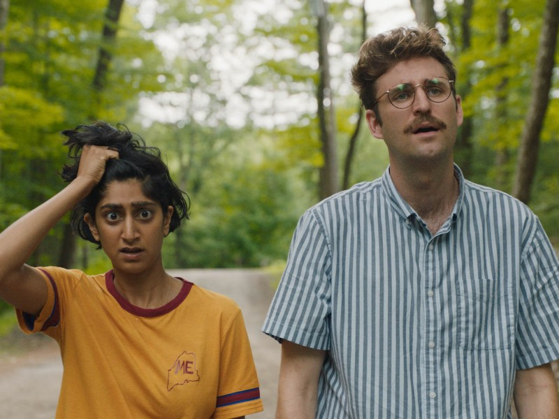 Sunita Mani and John Reynolds appear in Save Yourselves! at the 2020 Sundance Film Festival.