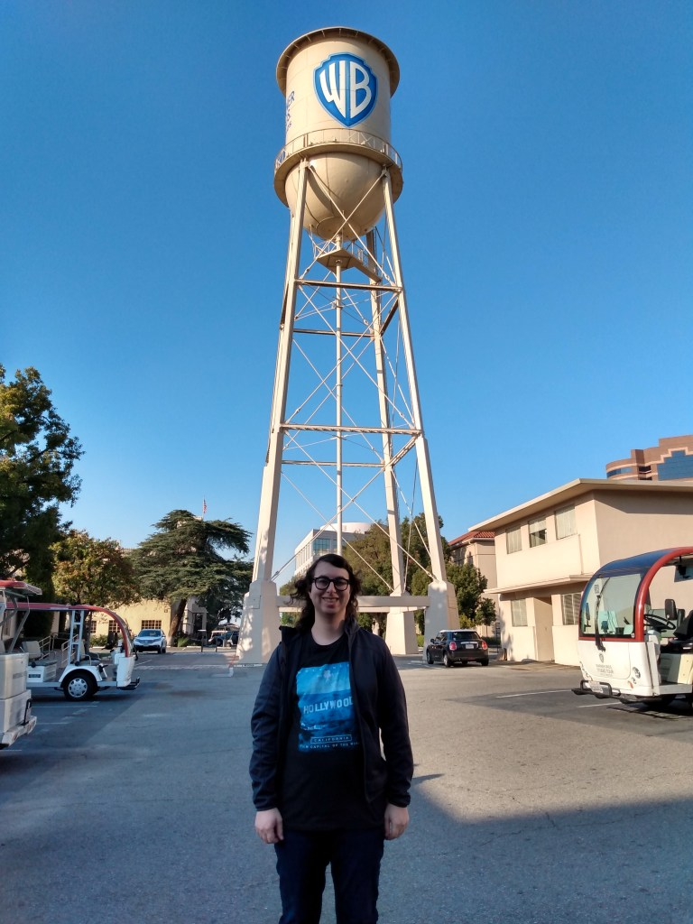 Danielle Solzman poses in front of the iconic Warner Brothers water tower, which plays home to the Animaniacs.