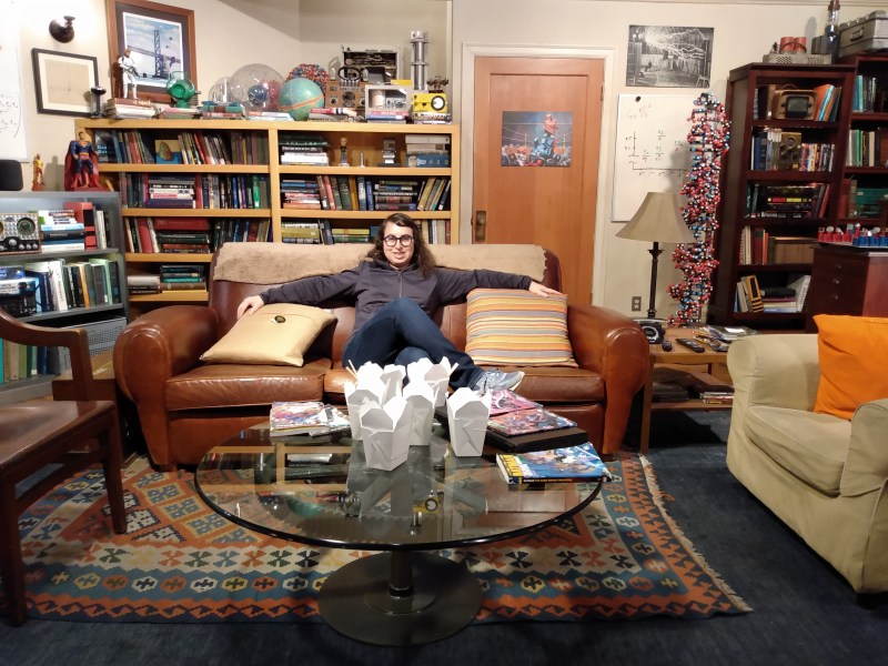 Danielle Solzman sits on The Big Bang Theory couch.