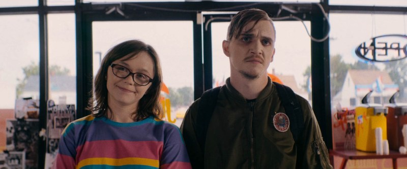 Emily Skeggs and Kyle Gallner appear in Dinner in America.