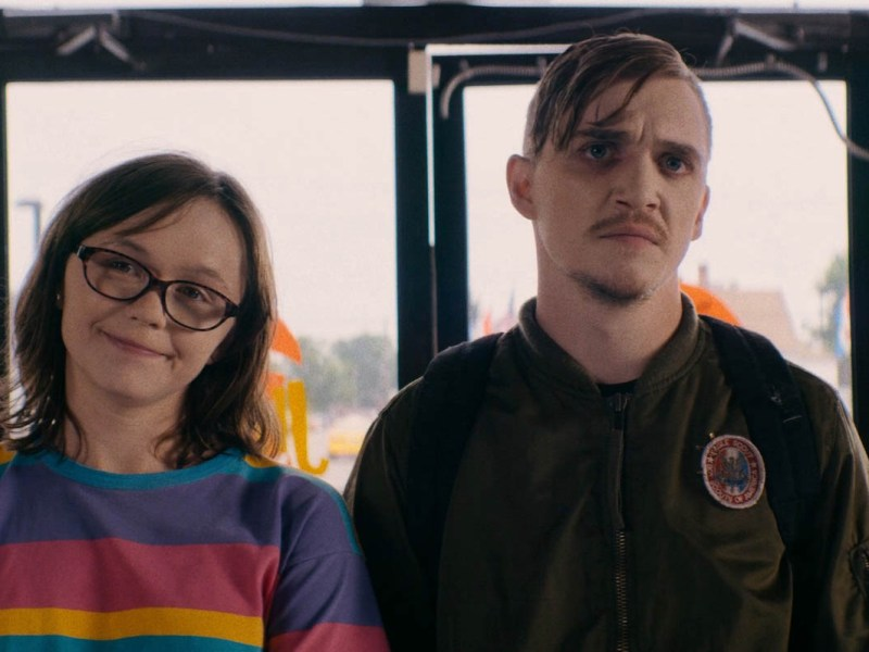 Emily Skeggs and Kyle Gallner appear in Dinner in America.