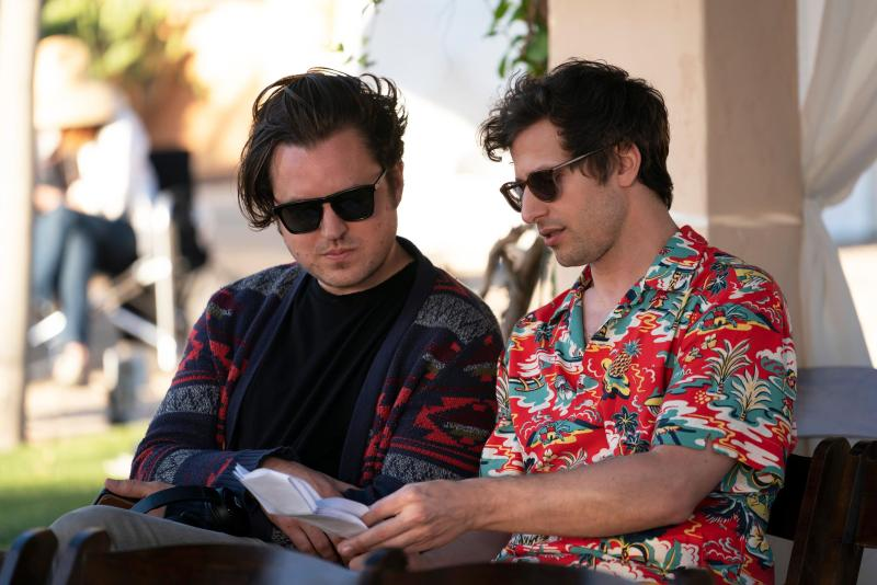 Andy Siara and Andy Samberg on the set of Palm Springs.