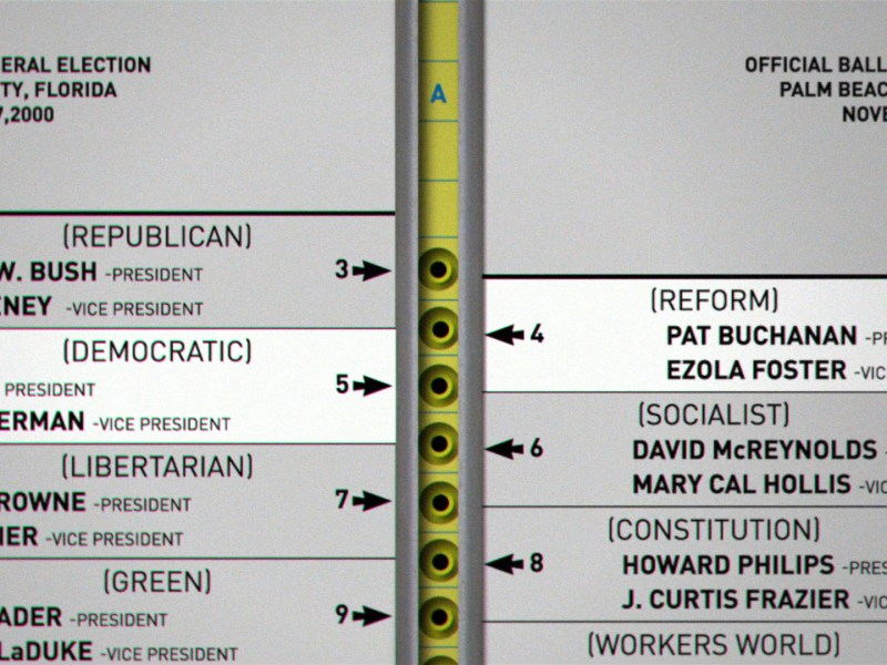 A Florida ballot from the 2000 election in 537 Votes