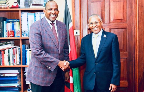 National Assembly Majority Leader Aden Duale (left) shakes hands with Somaliland Foreign Affairs Minister Saad Shire in Nairobi on October 25,2018