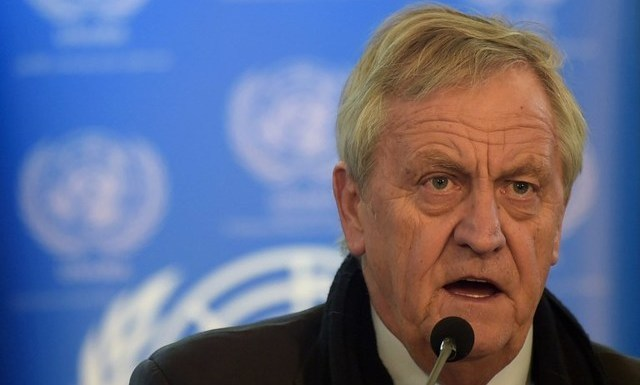 UN ENVOY. In this file photo, Nicholas Haysom speaks during a press conference in Kabul, Afghanistan, on February 14, 2016. File photo by Shah Marai/AFP
