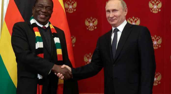 Zimbabwe President Emmerson Mnangagwa with Russian President Vladimir Putin. EPA-EFE/Sergei Chirikov