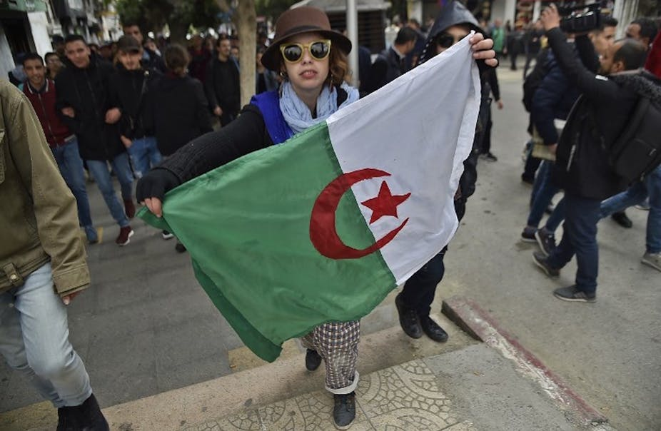 The Algerian population has taken to the streets in a peaceful and nonviolent manner to protest against President Bouteflika's running for a fifth term of office. Ryad Kramdi/AFP