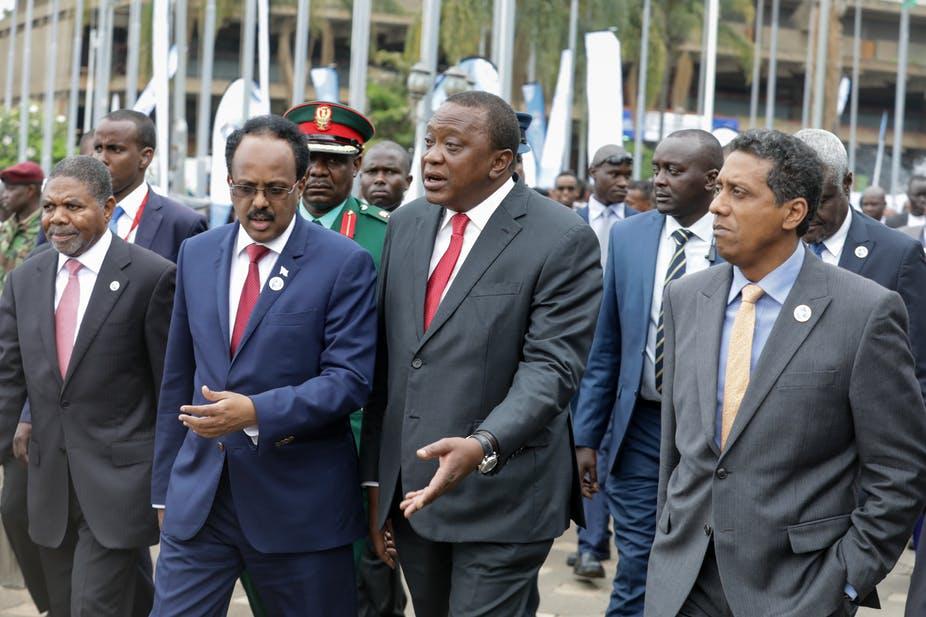 Somali president Mohamed Abdullahi Mohamed (second left) and Kenyan president Uhuru Kenyatta (second right). EPA-EFE/Daniel Irungu