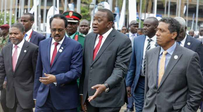 Somali president Mohamed Abdullahi Mohamed (second left) and Kenyan president Uhuru Kenyatta (second right). EPA-EFE/Daniel Irungu