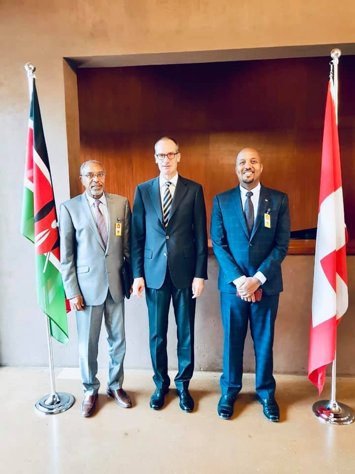 Amb. Bashe Awil Haji Omer, Switzerland Ambassador to East Africa, Dr. Ralf Heckner. and Somaliland Managing Director of the Civil Aviation and Airports Authority, Mr. Abdi Mohamed Rodol.
