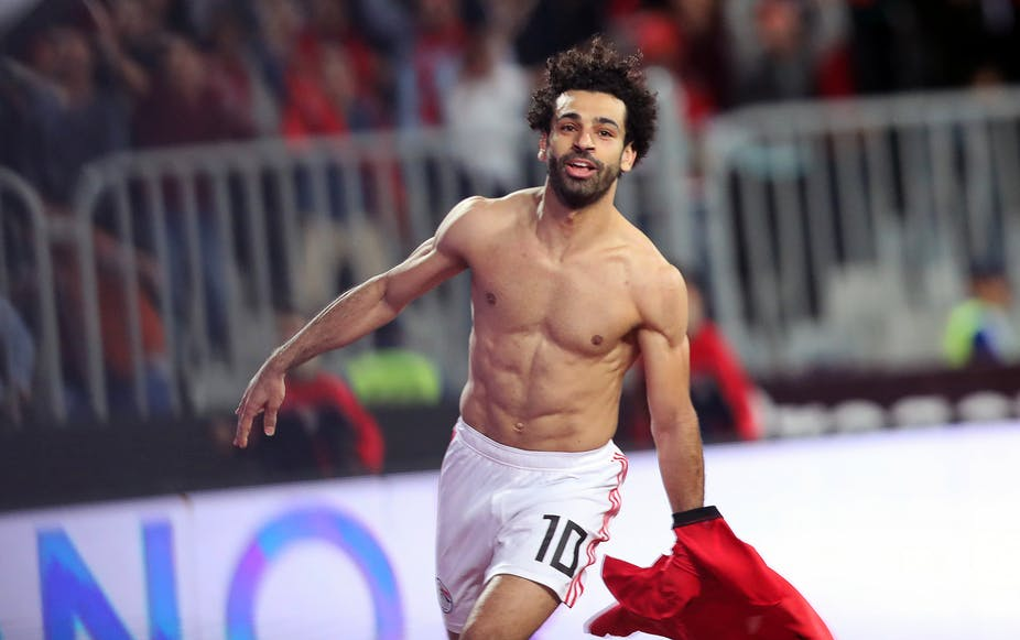 Egypt's Mohamed Salah celebrates after scoring a goal during the Afcon qualifying match between Egypt and Tunisia, 16 November 2018. Khaled Elfiqi/EPA