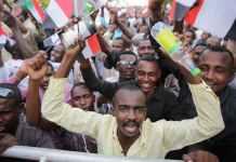 Supporters of Sudan's military rulers rally in Khartoum. EPA-EFE-Marwan Ali