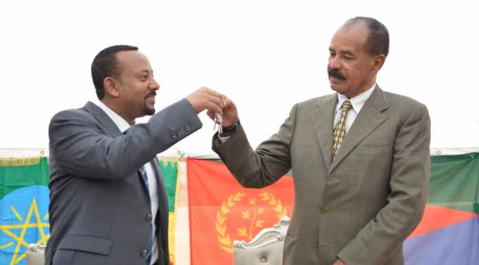 Ethiopia's Prime Minister Abiy Ahmed (left) and Eritrea's President Isaias Afwerki at the re-opening of the Eritrean embassy in Addis Ababa. EPA-