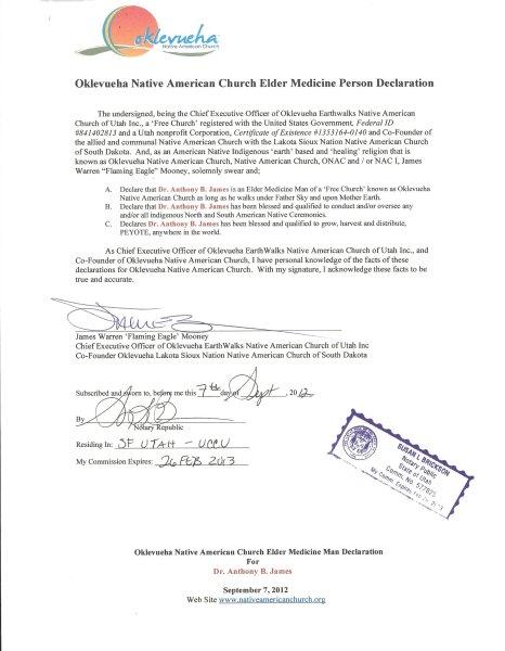 ONAC Authorized Medicine Man, Anthony B. James