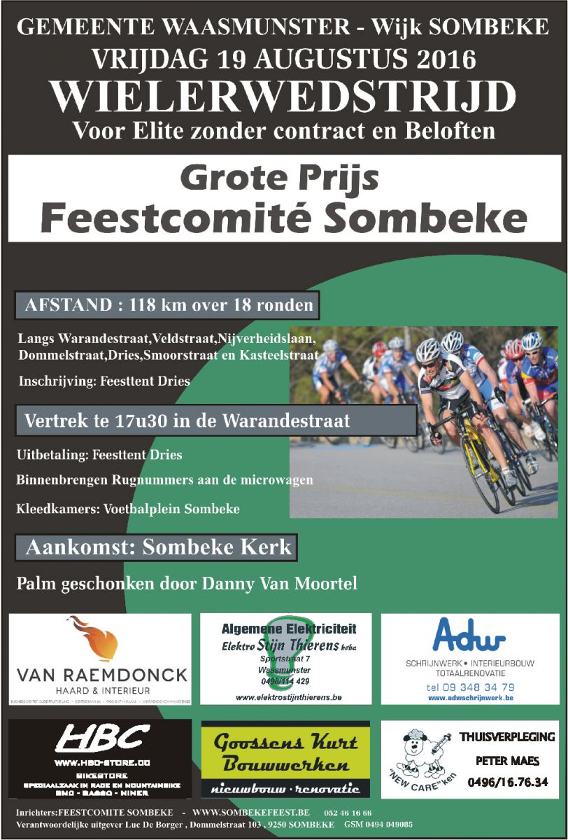 Sommbeke wielerwedstrijd (vrijdag 19 augustus),