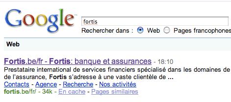 """fortis"" dans Google"