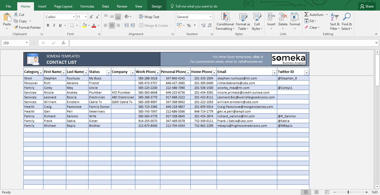 contact list spreadsheet