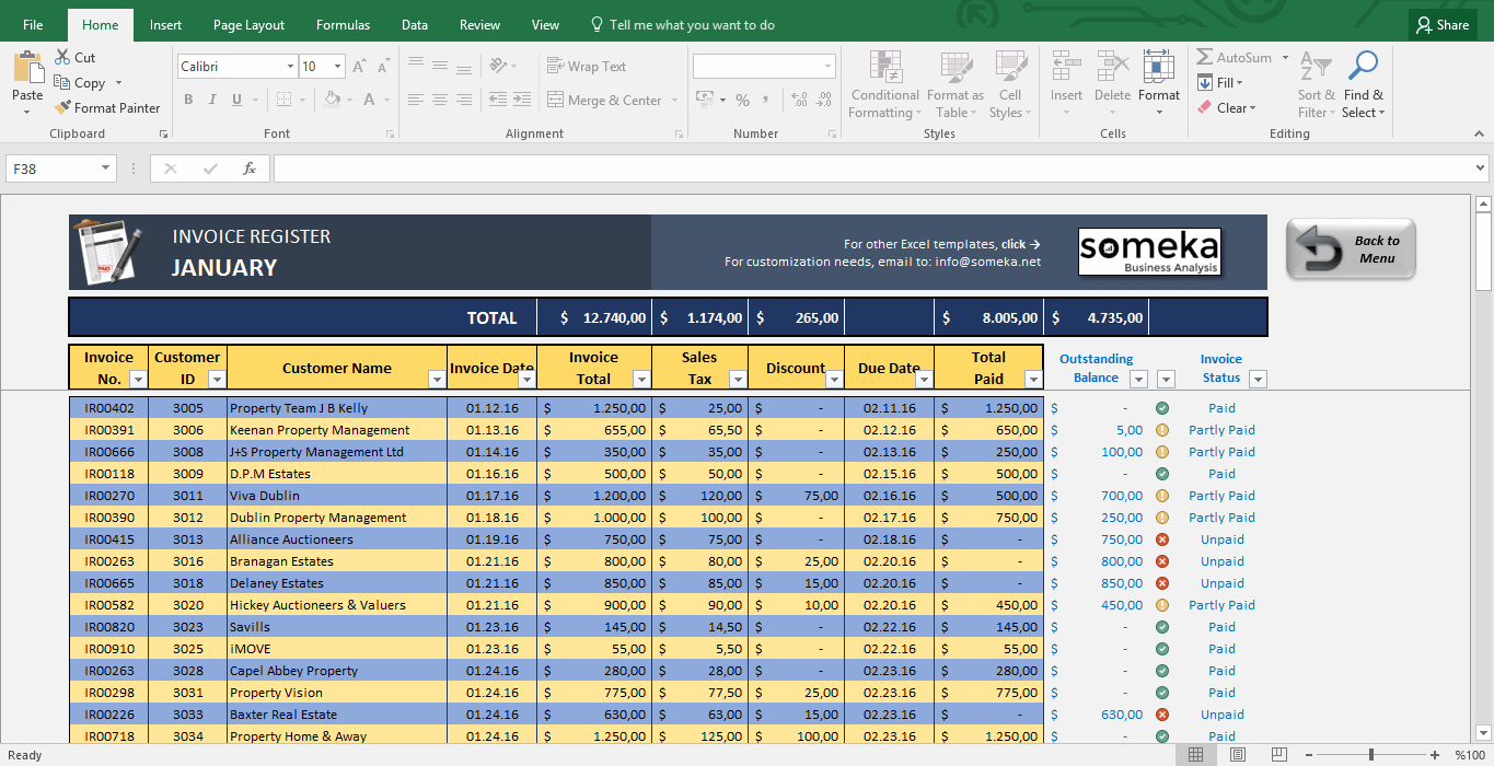 invoice tracker template excel