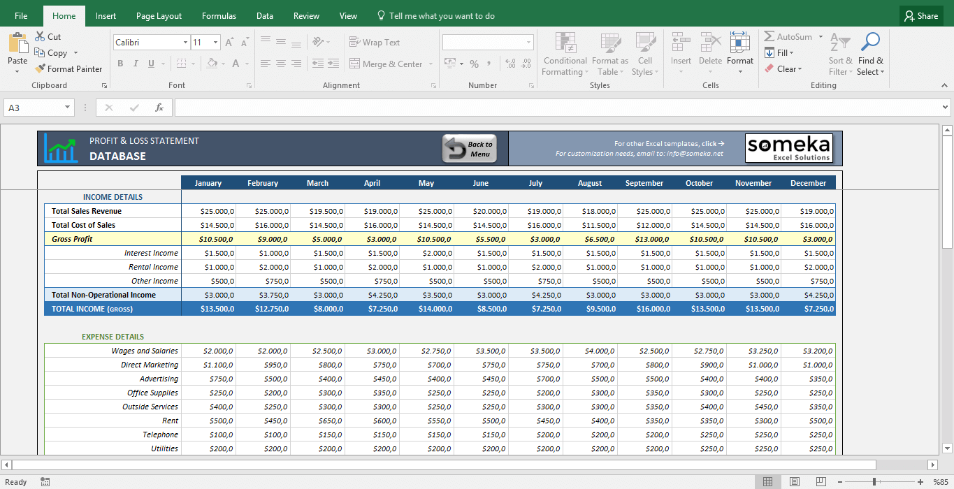 Profit And Loss Statement Template Free Excel Spreadsheet .