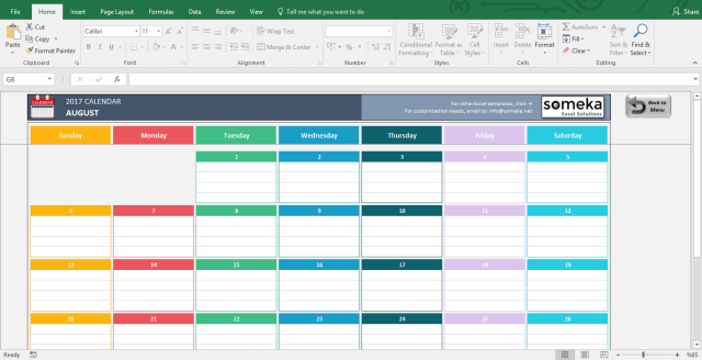 Microsoft Excel Calendar Template 2018 Free Download