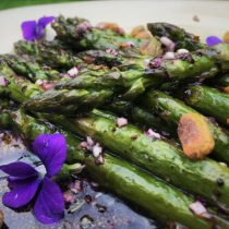 Asparagus with Pistachios and Violets